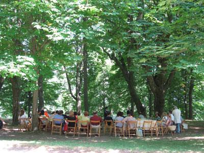 Degustazioni di pignoletto al fresco dell'ombra degli alberi secolari