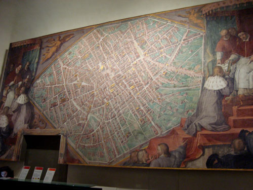 Riproduzione a grandezza reale della grande pianta cinquecentesca della Sala Bologna in Vaticano