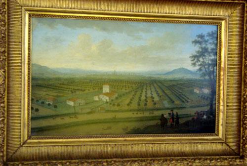 Azienda agricola nella pianura bolognese - olio su tela di anonimo fiammingo, metà Settecento