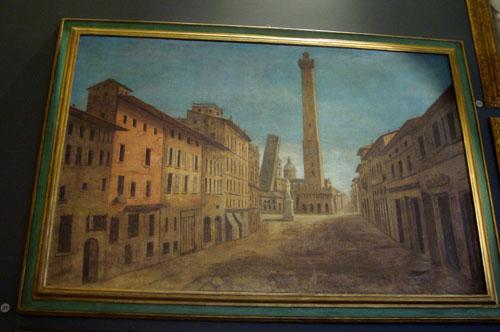 Mercato di Mezzo (oggi via Rizzoli) - tempera su tela